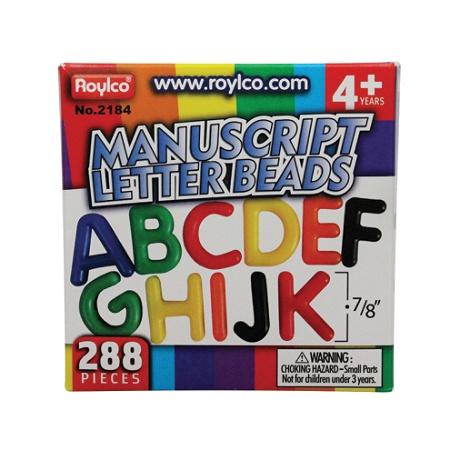 Roylco® Uppercase Manuscript Letter Beads, Assorted Colors, Box Of 288 Item  # 747089
