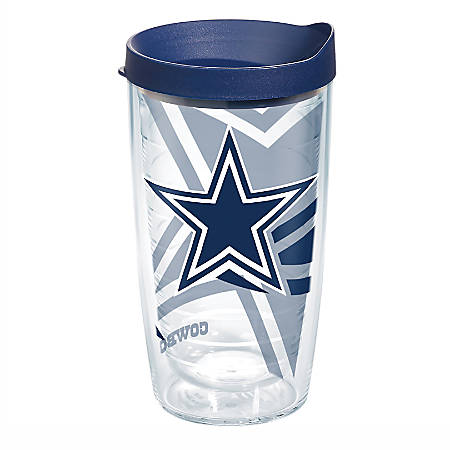 Tervis NFL Tumbler With Lid, 16 Oz, Dallas Cowboys, Clear