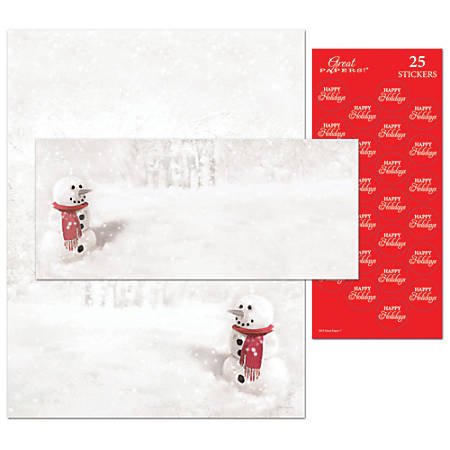 """Great Papers!® Holiday Stationery Kit, Snowman In Red Scarf, 8 1/2"""" x 11"""", Pack Of 25 Letterhead, Envelopes and Seals"""