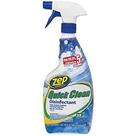Zep Quick Clean Disinfectant - Spray - 0.25 gal (32 fl oz) - 1 Each - Yellow