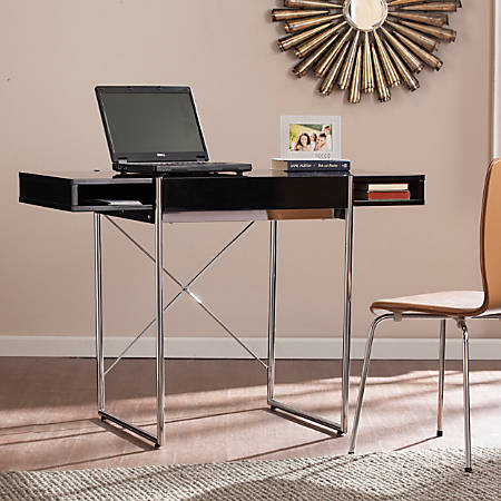 Southern Enterprises Brayton Wooden Desk, Black/Chrome