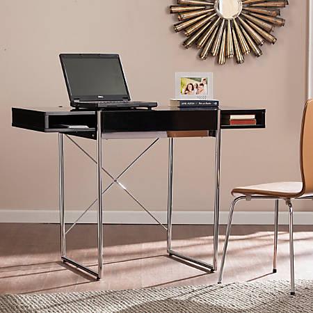 Southern Enterprises Brayton Wooden Desk, Black/Chrome