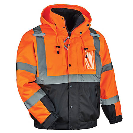 Ergodyne GloWear 8381 Type-R Class 3 Performance 3-In-1 Bomber Jacket, Large, Orange
