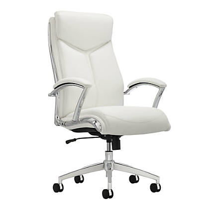Realspace® Modern Comfort Series, Verismo, Bonded Leather Executive High-Back Chair, White/Chrome
