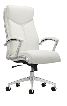 Reale Verismo Bonded Leather High Back Chair Whitechrome By Office Depot Officemax
