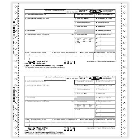 """ComplyRight™ W-2 Tax Forms, Employee Copy B, C, 1 And 2, 4-Part, 9"""" x 11"""", Pack Of 100 Forms"""