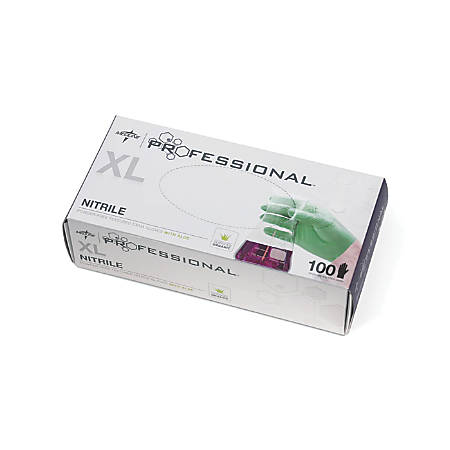 Medline Professional Powder-Free Nitrile Exam Gloves With Aloe, X-Large, Green, 100 Gloves Per Box, Case Of 10 Boxes