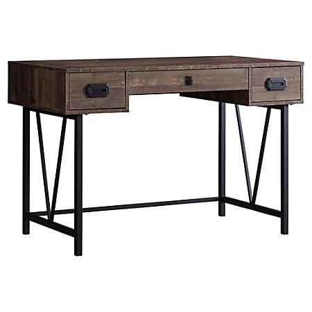 Monarch Specialties 3-Drawer Computer Desk, Black/Brown