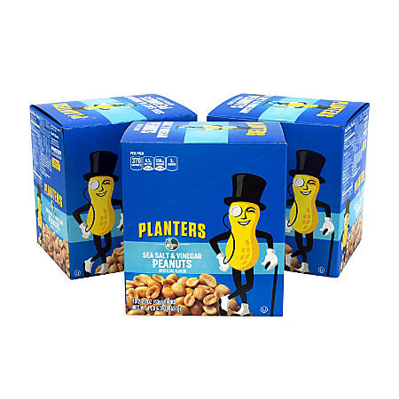 Planters Sea Salt And Vinegar Peanuts, 2.25 Oz, 10 Pouches Per Box, Pack Of 3 Boxes