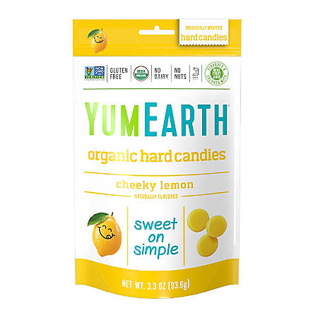Yummy Earth Organic Cheeky Lemon Hard Candies, 3.3 Oz, Pack Of 3 Bags
