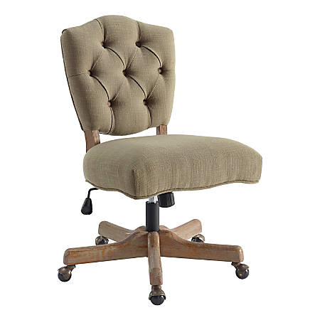 Linon Juliet Fabric Mid-Back Chair, Light Brown/Gray Wash