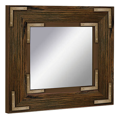 "PTM Images Framed Mirror, Accent, 20""H x 20""W, Natural Black"