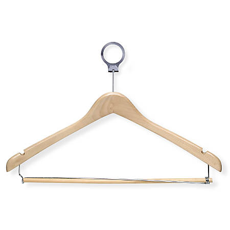 """Honey-Can-Do Wood Hotel Suit Hangers With Pant Bars, 9""""H x 1/2""""W x 17 1/4""""D, Maple, Pack Of 24"""