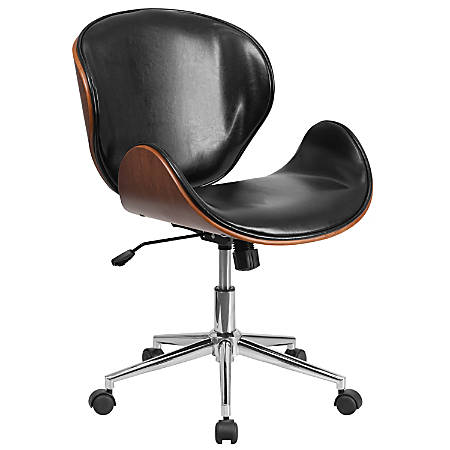 Flash Furniture Mid-Back Swivel Conference Chair, Black/Silver