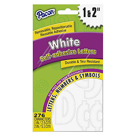 """Pacon® Reusable Self-Adhesive Letters, 1"""" And 2"""", Classic Font, White, Pack Of 276"""