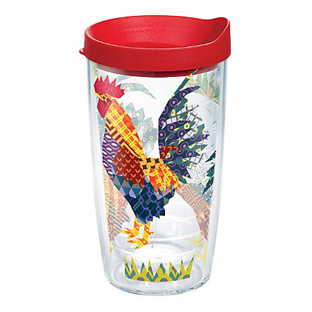 Tervis Patchwork Rooster Tumbler With Lid, 16 Oz, Clear