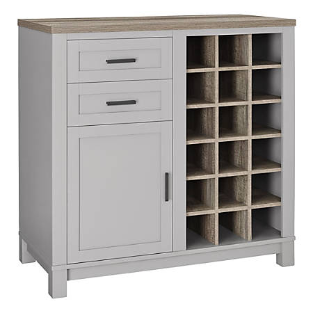 Ameriwood™ Home Carver Storage Cabinet/Buffet, 18 Cubbies/2 Shelves/2 Drawers, Gray/Weathered Oak