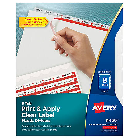 Avery® Print & Apply Clear Label Translucent Plastic Dividers with Index Maker® Easy Apply™ Printable Label Strip, 8 Frosted Clear Tabs