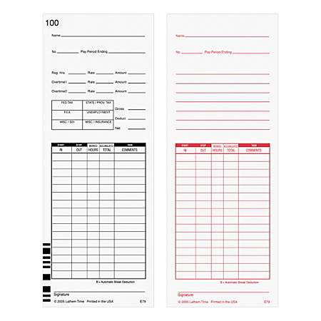 """Lathem Time Cards, F/7000E, Numbered 1–100, 2-Sided, 3 3/8"""" x 9"""", White, Pack Of 100"""