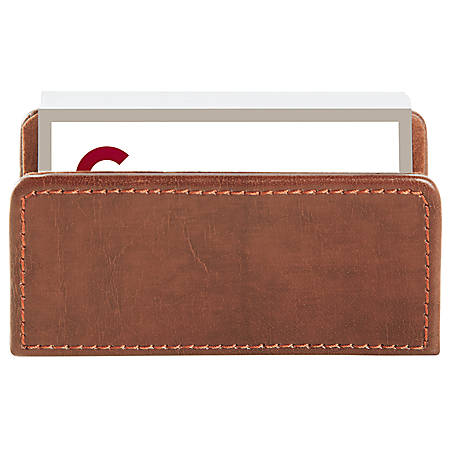 realspace brown leatherette business card holder by office