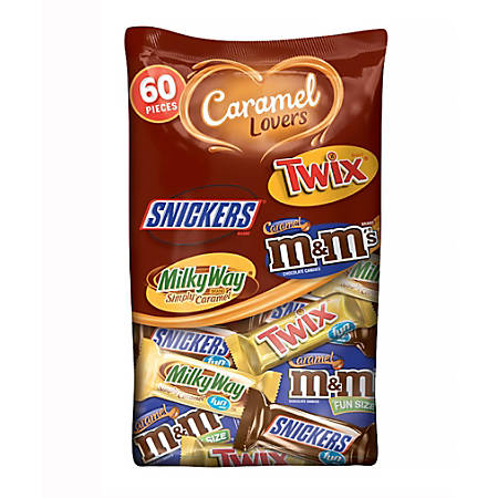 Mars Caramel Lovers 60-Piece Fun-Size Chocolate Candy Assortment, 37.64-Oz Bag