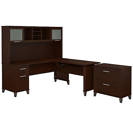 """Bush Furniture Somerset 72""""W 3 Position Sit to Stand L Shaped Desk With Hutch And File Cabinet, Mocha Cherry, Standard Delivery"""