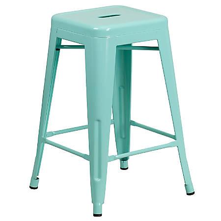 Swell Flash Furniture 24H Commercial Grade Metal Backless Counter Stool Mint Green Item 7487654 Creativecarmelina Interior Chair Design Creativecarmelinacom