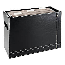 Realspace Black Leatherette Hanging File Basket