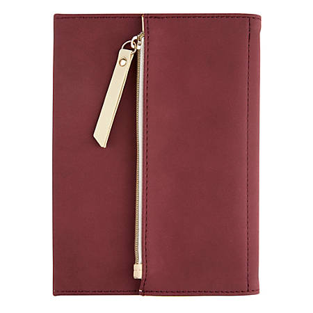 """Office Depot® Brand Journal With Built-In Zipper Pouch, 5"""" x 7"""", College Ruled (80 Sheets), 160 Pages, Red Wine"""