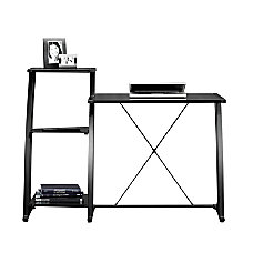 Sauder Deco Tiered Glass Desk Black