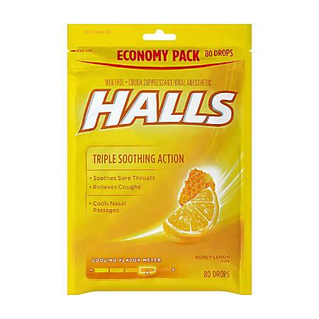 Halls Honey Lemon Cough Drops, 80 Drops Per Bag, Pack Of 2 Bags