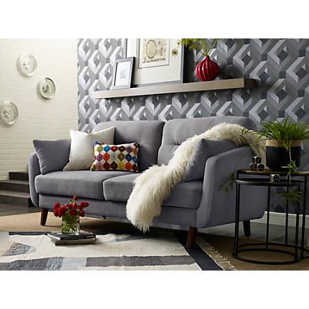 Elle Décor Chloe Mid-Century Modern Sofa, Dark Gray/Chestnut Item # 749036