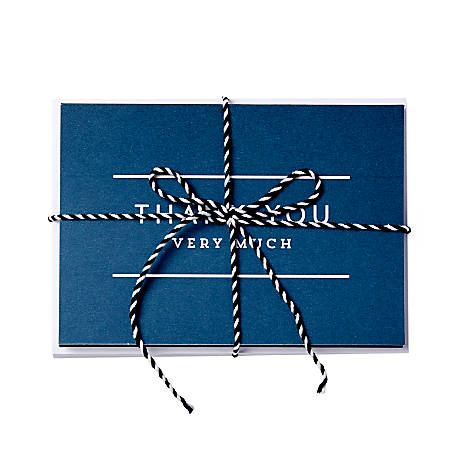 """Sincerely A Collection by C.R. Gibson® Baker's Twine Note Cards With Envelopes, 6"""" x 4 1/4"""", Navy Thank You, Blank Inside, Bag Of 8"""