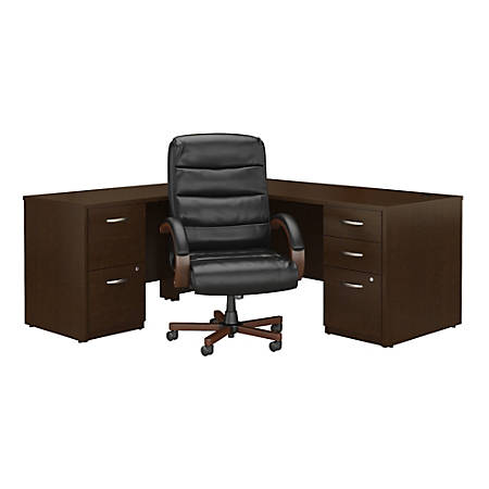 """Bush Business Furniture Components Elite 72""""W L Shaped Desk with File Cabinets and High Back Executive Office Chair, Mocha Cherry, Standard Delivery"""