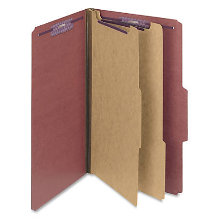 """Smead® Classification Folders, Pressboard With SafeSHIELD® Fasteners, 2 Dividers, 2"""" Expansion, Legal Size, 60% Recycled, Red, Box Of 10"""