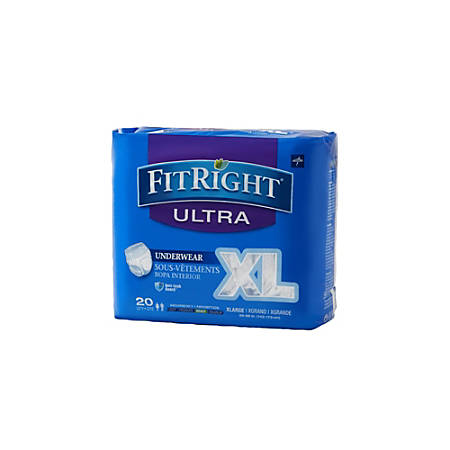 "FitRight Ultra Protective Underwear, Extra-Large, 56 - 68"", White, Case Of 20"