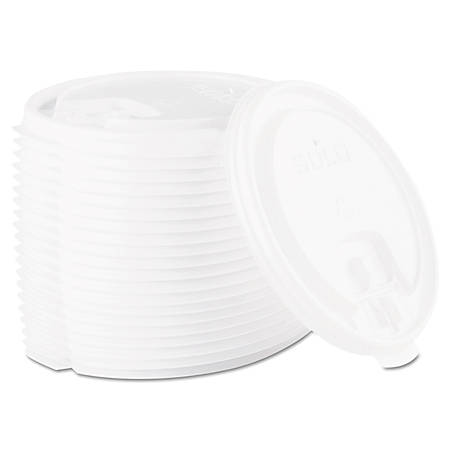 Dart® Lift Back And Lock Tab Cup Lids For 10-24 Oz Cups, White, Sleeve Of 100 Lids, Carton Of 20 Sleeves