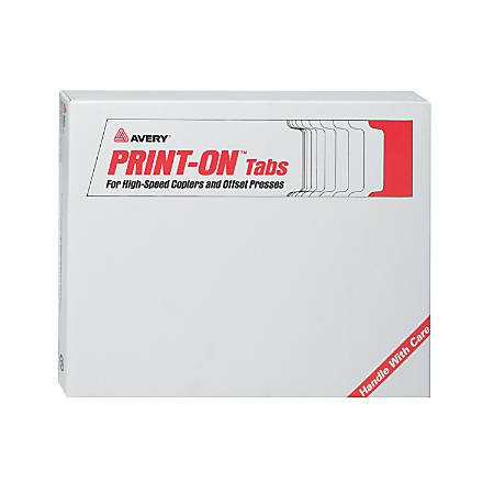 """Avery® 20% Recycled Unpunched Copier Tab Dividers, 8 1/2"""" x 11"""", 5-Tab, White Dividers/White Tabs, 5 Sets Of 30, Box Of 150"""