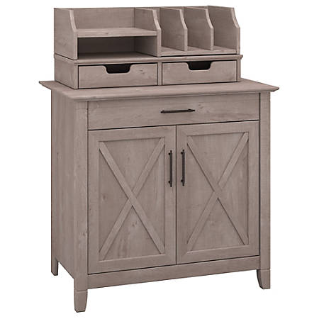 Bush Furniture Key West Laptop Storage Desk Credenza With Desktop Organizers, Washed Gray, Standard Delivery