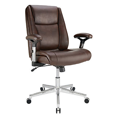 Realspace® Densey Bonded Leather Mid-Back Managerial Chair, Brown