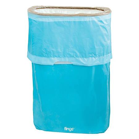 Amscan Pop-Up Plastic Trash Fling Bins, 13 Gallons, Caribbean Blue, Pack Of 3 Bins