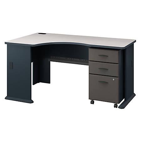 Bush Business Furniture Office Advantage Left Corner Desk With Mobile File Cabinet, Slate/White Spectrum, Premium Installation