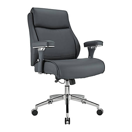 Realspace® Modern Comfort Series, Keera, Bonded Leather Managerial Mid-Back Chair, Gray/Chrome