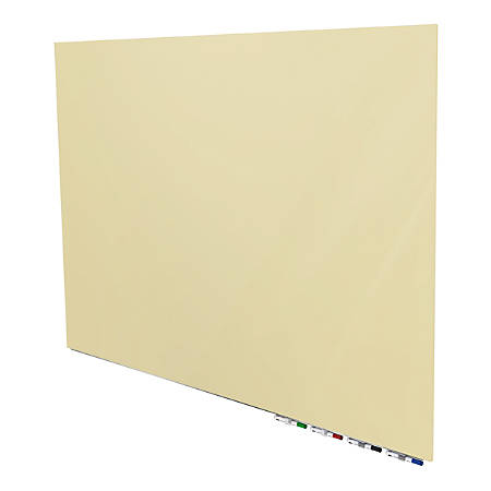 "Aria 4'H x 6'W Magnetic Low Profile 1/4"" Glassboard, Horizontal, Beige, 4 Rare Earth Magnets, 4 Markers & Eraser"