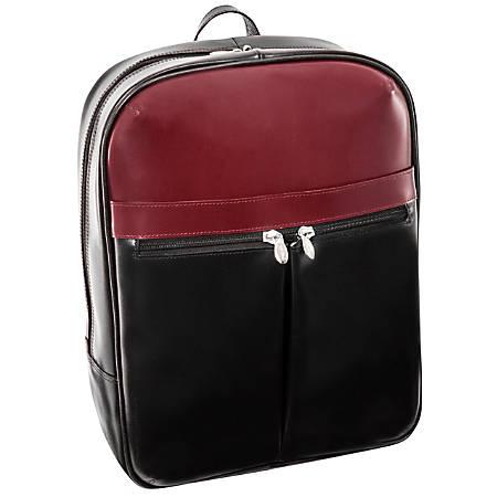 McKleinUSA Avalon L Series Leather Slim Laptop Backpack, Black/Red