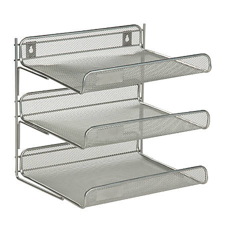 "Honey-Can-Do 3-Tier Steel Mesh Desk Organizer, 12 1/2""H x 10 3/4""W x 13 1/4""D, Silver"