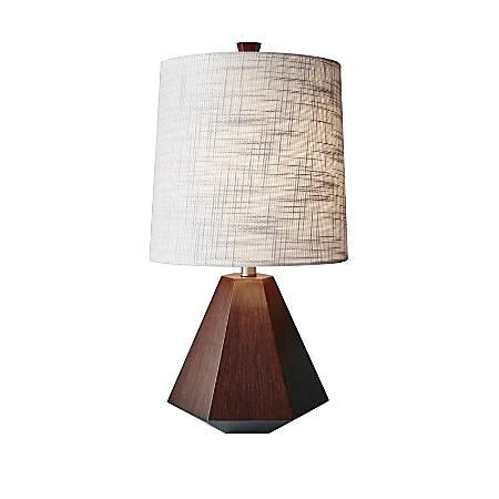 "Adesso® Grayson Table Lamp, 25""H, White Shade/Walnut Birch Base"