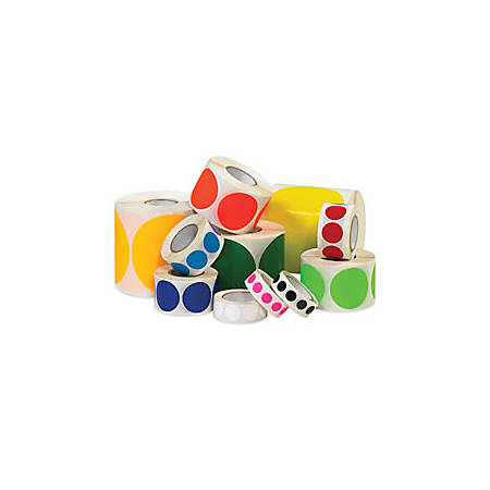 """Removable Round Color Inventory Labels, DL690A, 1/2"""" Diameter, Red, Pack Of 500"""