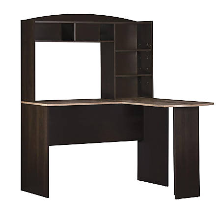 Ameriwood™ Home Sutton L-Desk With Hutch, Espresso/Weathered Oak
