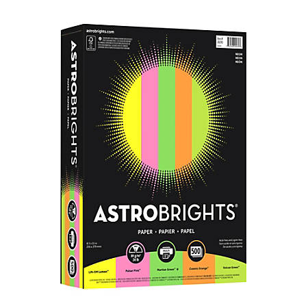 "Neenah Astrobrights® Bright Color Paper, Letter Size (8 1/2"" x 11""), 24 Lb, Assorted Flashy Colors, Ream Of 500 Sheets"